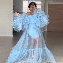 Модное прозрачное Тюлевое платье, Голубое Прозрачное Сетчатое длинное летнее платье для фотосессии, платья для беременных, фотосессии