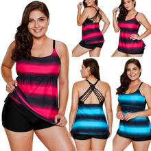 Plus Ukuran Wanita Tankini Bikini Set Push Up Empuk Pakaian Renang(China)