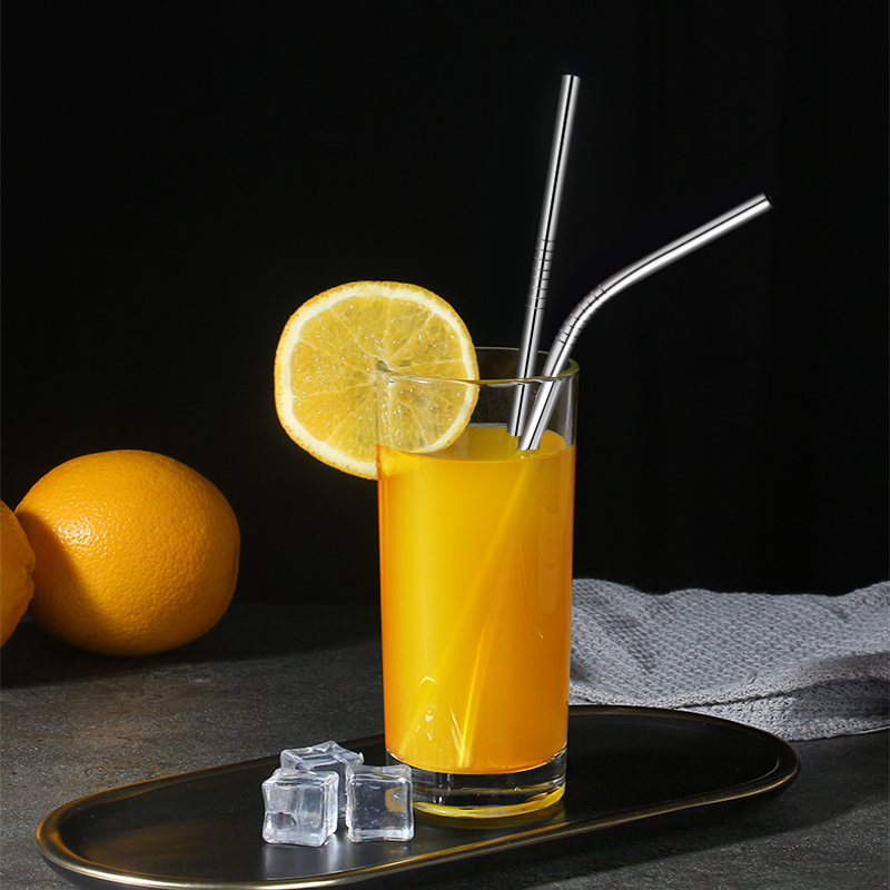 304 Stainless Steel Straw Straight And Curved Straw Metal Reusable With Cleaning Brush Party Bar Accessories