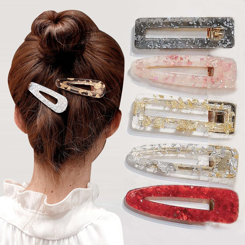 Hot Fashion Women Vintage Acetic Acid Geometric Hair Clips For Girls Water Drop Shape Elegant Hollow Hair Accessories Style
