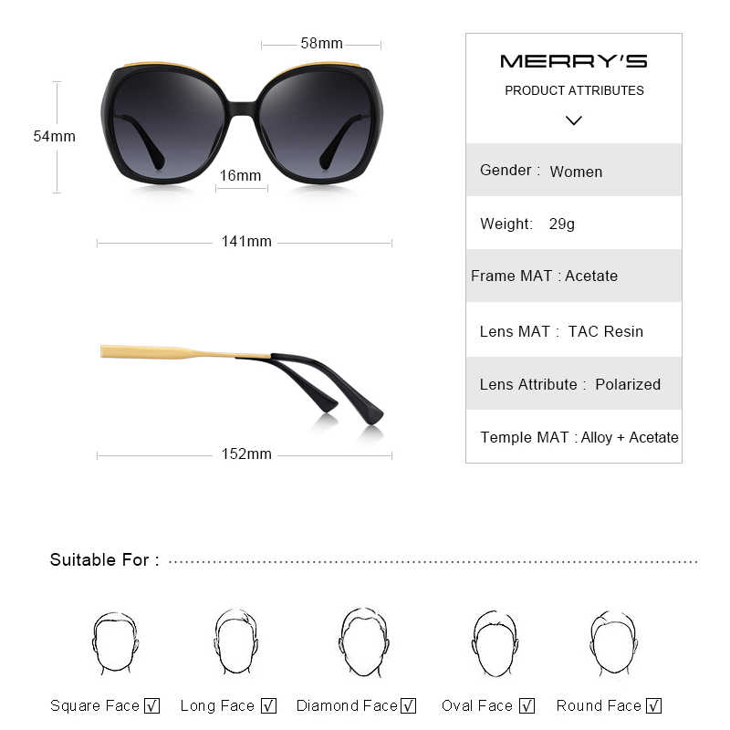 MERRYS ผู้หญิงแบรนด์หรูยอดนิยม Gradient แว่นตากันแดดแฟชั่นผู้หญิงแว่นตา Polarized Sun UV400 ป้องกัน S6323