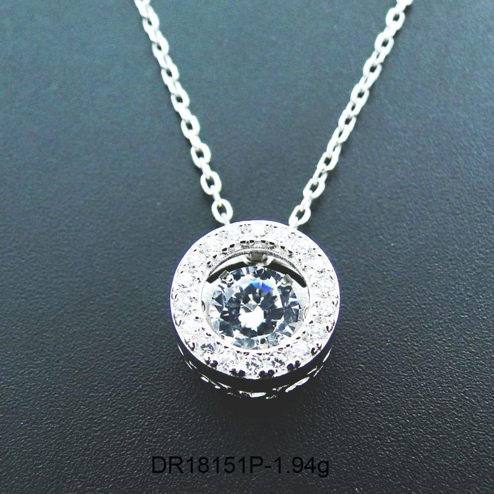Hot Selling 925 Sterling Silver Dancing CZ Stone Round Pendant Necklace For Engagement / Party / Birthday Gift