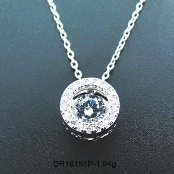 Hot Selling 925 Sterling Silver Dancing CZ Stone Round Pendant Necklace For Engagement / Party / Birthday Gift фото