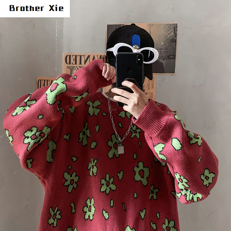 Flower Sweater Men's Warm Fashion Casual O-Neck Knit Pullover Man Wild Loose Long Sleeve Knitting Sweaters Male Sweter Clothes