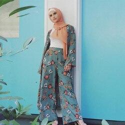 Two Piece Set Top and Pants Women Cardigan and Wide Leg Pants Sets Dubai Muslim Print Floral Islamic Clothing Lace-up Slim Abaya