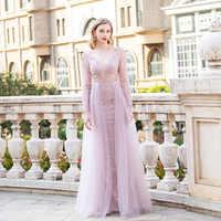 Светло-розовое вечернее платье с длинным рукавом и кристаллами 2020, вечернее платье из тюля с глубоким треугольным вырезом и бусинами, Форма...