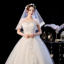 High Neck Lace Flower Wedding-Dress Appliques Robe-De-Mariee Cheap Vestidos-De-Novia Ball Gown Robe Sleepwear Shoulder Top 312a