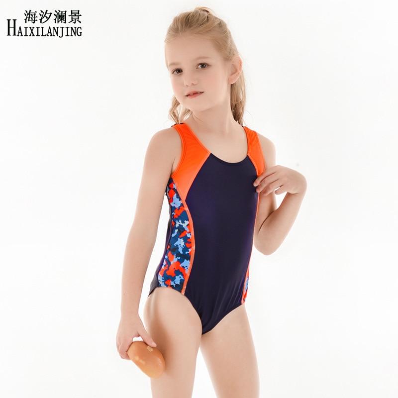 Hai Xi Lan Jing 2019 New Style KID'S Swimwear Girls Big Boy 4-12-Year-Old Profession Triangular One-piece Swimming Game