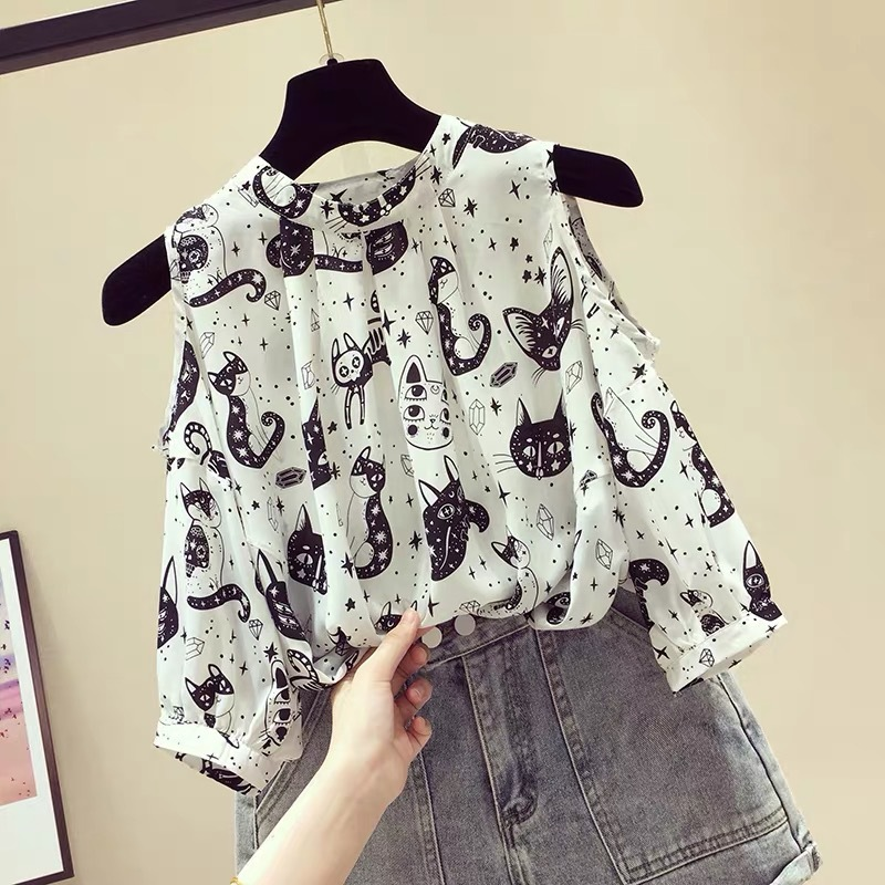 Summer New Women Shirts Kawaii White Lace Blouses Fashion Office Ladies Slim Short Sleeve Chiffon Shirt Female Tops Blusas Mujer
