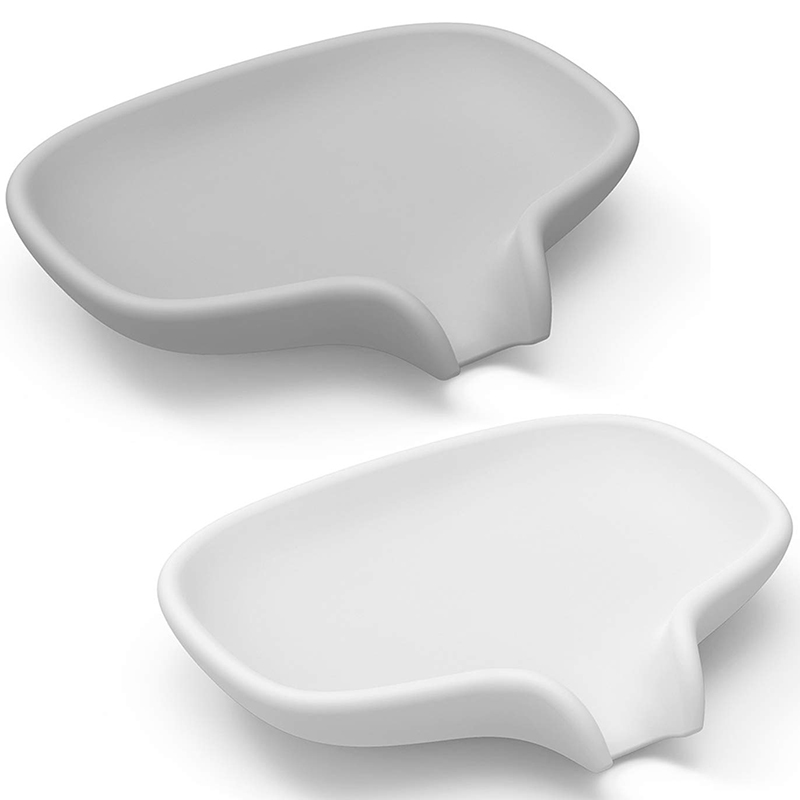 Soap Dish with Draining Tray  Silicone Soap Holder Saver for Shower/Bathroom  Keep Soap Bars Dry Clean  2 Pack  White and Gray|Portable Soap Dishes| |  - title=