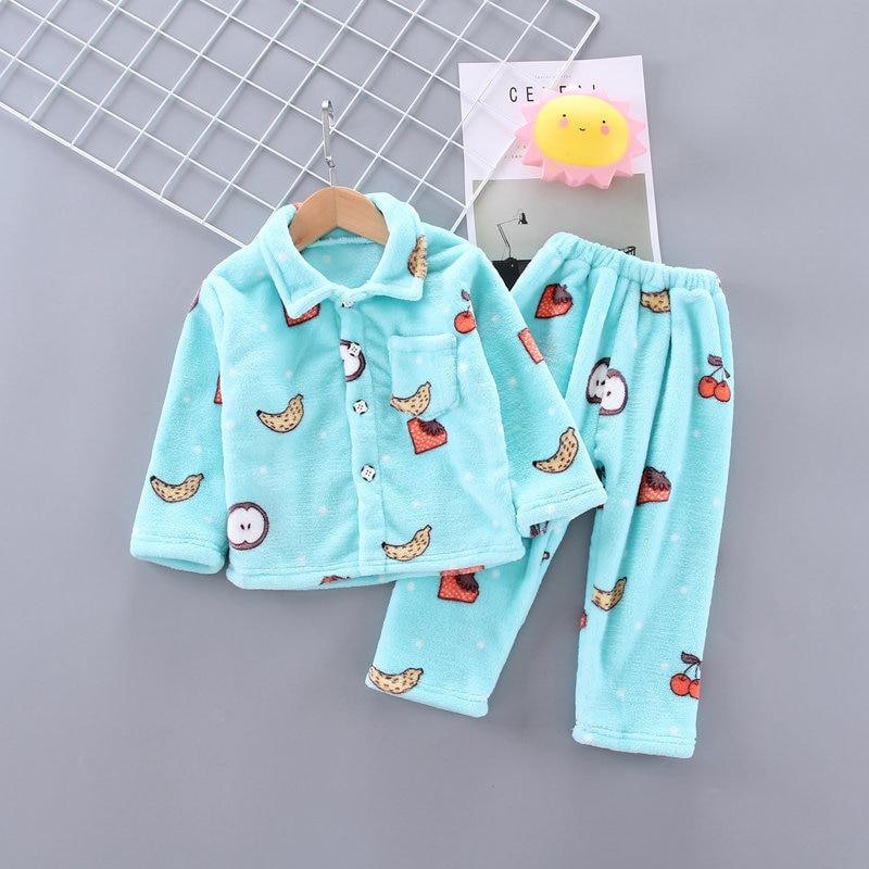 Winter Flannel Kids   Pajamas     Sets   Child Warm Sleepwear Cartoon CARTOON Print Baby Girls Boys nightwear Children   Pajamas   For Girls