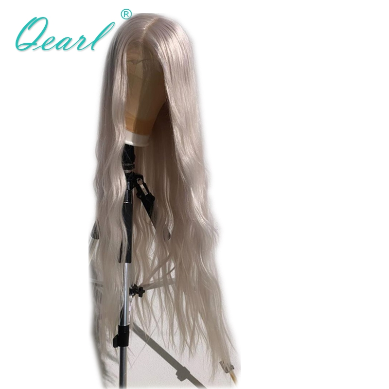 Human Hair Lace Wig Transparent Blonde White Color Natural Wave 24