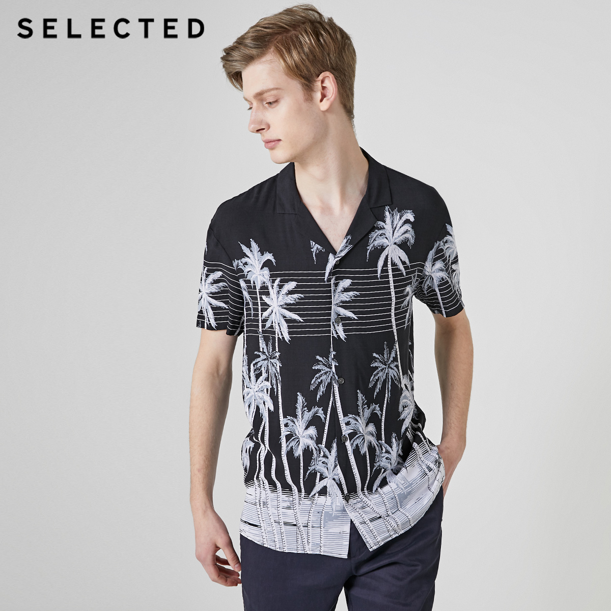 SELECTED Men's Thin Printing Trendy Temperament Casual Printed Short-sleeved Shirt S|419204553