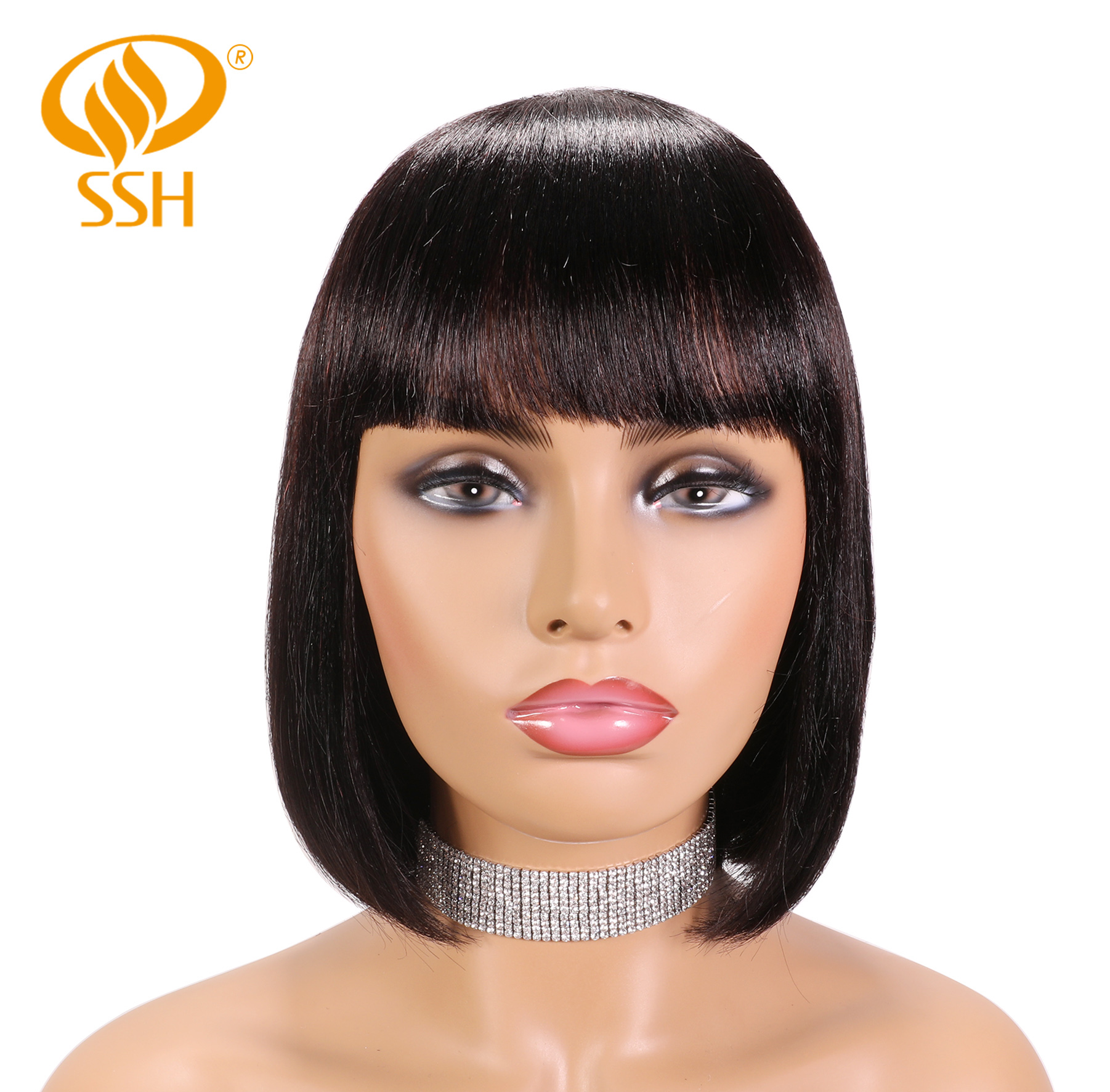 SSH 100% Remy Human Hair Short Bob Wigs For Women Straight Hair Black Bob Wigs With Hair Bangs 10Inch Trendy And Natural Looking
