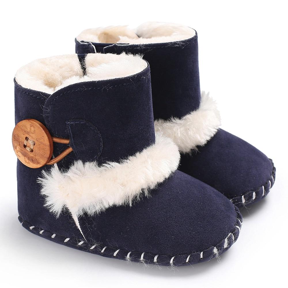 Newborn Toddler Baby Girl Boy Soft Crib Sole Cartoon Boots Prewalker Warm Shoes