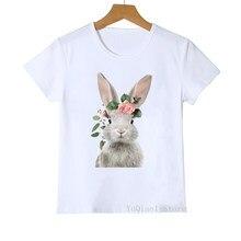 T-shirts para meninas bonito flor coelho/pinguim/cão/raposa/urso/alpaca/flamingo/coruja/porco animal impressão engraçado crianças t shirt roupas menina