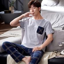 Лето хлопок повседневная O шея одежда для сна с длинными брюки костюм мода карман пэчворк мужчины 27 лет пижама мужской простой клетчатый дом одежда