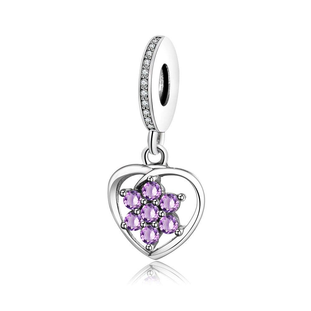 Fit Originální náramek Pandora Charm 925 Sterling Silver Purple Clear CZ Flower Přívěsek Charm Korálek DIY Šperky 2017 Podzimní Viset