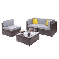4 Pieces Patio PE Wicker Rattan Corner Comfortable Breathable Sofa Set For Home Living Room Bedroom Decoration