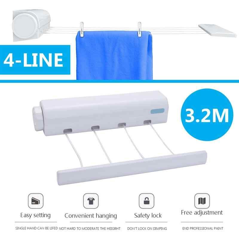 3.2 メートル 4 ライン物干しロープ Abs 自動ロールアップ洗濯屋内省スペース格納式物干し屋内屋外衣類乾燥機