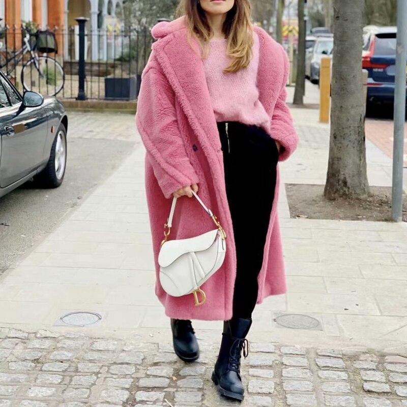 Image 3 - Teddy jacket faux fur coat long red white pink fur coat female  vintage fur collar winter coat women elegant shaggy fur coatsFaux Fur