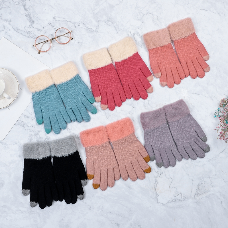 Women Knitted Gloves Winter Touch Screen Ladies Wrist Gloves Thicken Warm Full Finger Soft Stretch Knit Mittens Female Guantes