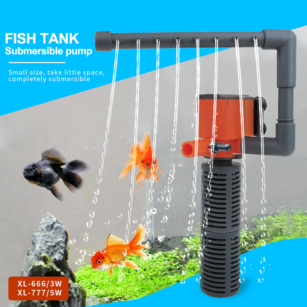 3 In 1 Filter 3W/5W Internal Aquarium Filter Oxygen Submersible Pumps Sponge Water With Rain Spray Air Increase For Fish Tank