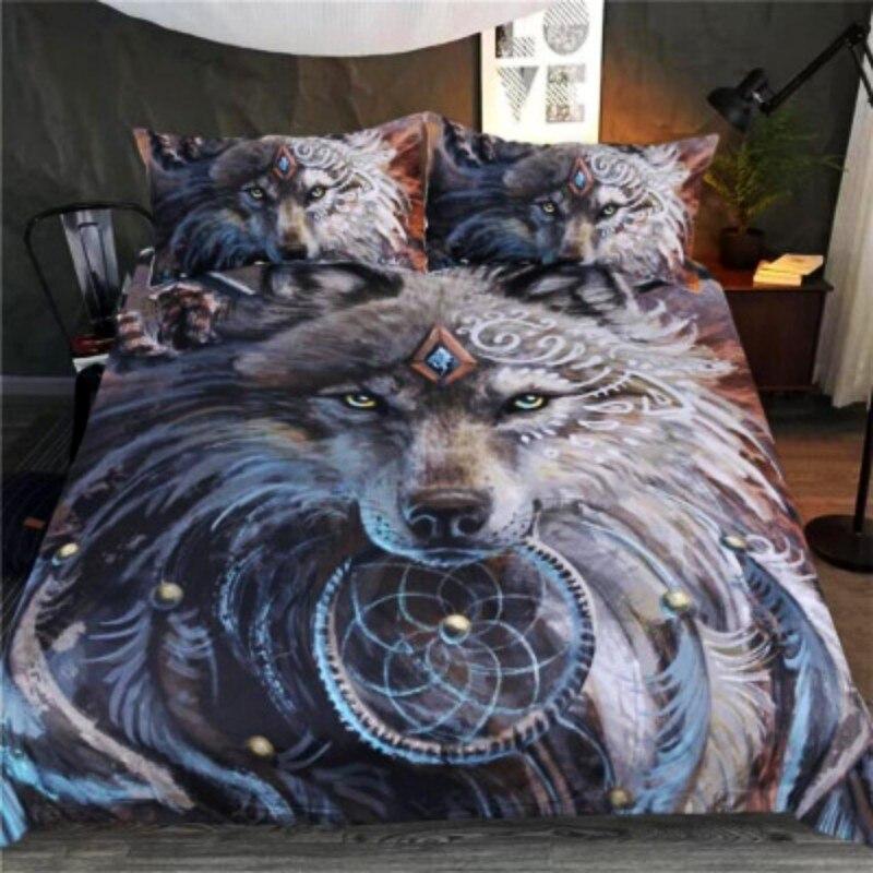 Wolf Warrior Novel 3D Digital Printing Bedding Sets 3Pcs Kids Duvet Cover Pillowcase For Children Boys Girls 1.2m-2.0m Bed