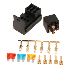 Universal 3 Way Blade Fuse Holder Box with Spade Terminals and Fuse, 5 Pin 25A Relay for Truck, RV, Boat, Trailer