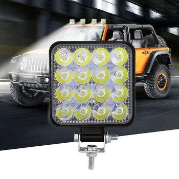 1 Uds 12V 24V LED foco de trabajo para coche 16LED foco de trabajo de inundación 48W 1000LM coche SUV todoterreno LED barra de luz