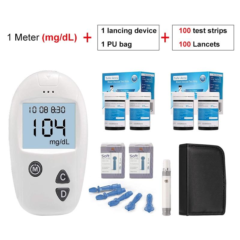 Şeker ölçüm Sinocare güvenli Accu tıbbi diyabet test cihazı 50/100 glikoz şeritleri ve klozetler ile kan certificatoe