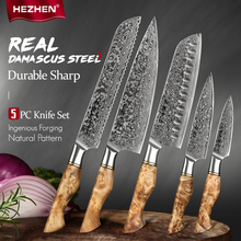 HEZHEN 1-5PC Knife Set Japanese Damascus Steel Chef Santoku Bread Paring Utility Professional Slicing knife Cook Kitchen Knife