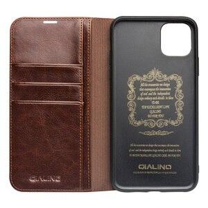 Image 4 - ريترو جلد البقر حقيقية حافظة جلدية ل iPhone11 محفظة حافظة للبطاقات غطاء ذكي الأعمال الوجه جراب هاتف لابل آيفون 11 برو ماكس