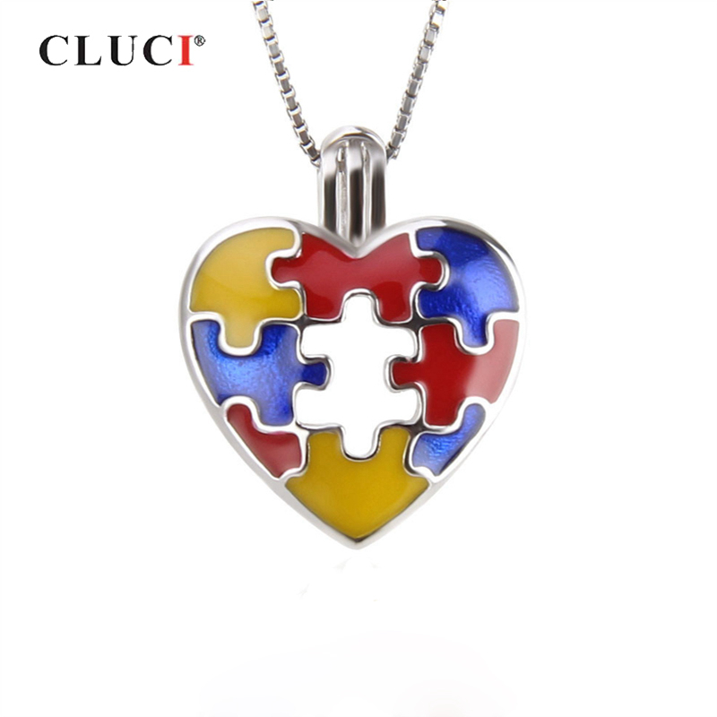 CLUCI 925 Sterling Silver Autism Awareness Charms Pendant Women Jewelry Real Silver 925 Love Heart Pearl Locket SC276SB