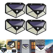 100/144 светодиодный четырехсторонний светильник на солнечной энергии, 3 режима, 120 градусов, датчик движения, угол, настенный светильник, водонепроницаемый, для улицы, для двора, сада