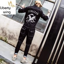 Harajuku Mens One Piece Denim Jumpsuit Hawk Embroidery Jeans Bib Overall Streetwear Zipper Sleeve Suit Long Cargo Pants Pockets(China)