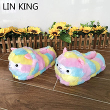 Купить с кэшбэком LIN KING Cute Colorful Alpaca Fur Slippers Women's Home Indoor Slippers Warm Winter Cotton Shoes Non Slip House Bedroom Shoes