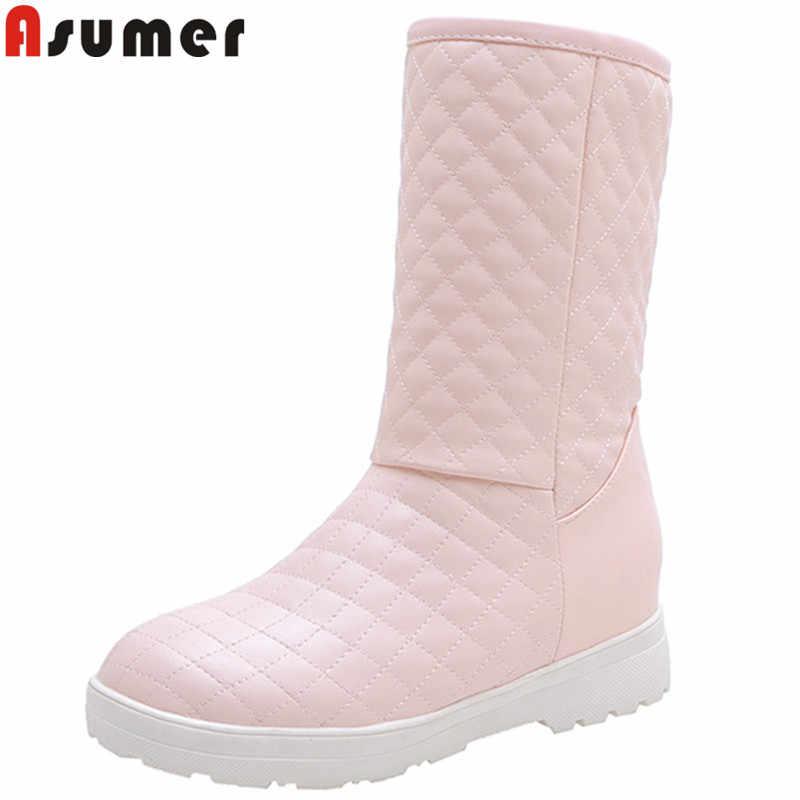 Asumer Plus Size 34-48 Thời Trang Giữa Bắp Chân Giày Nữ Mũi Tròn Trơn Trượt Trên Bằng Phẳng Với Mùa Đông Giày Casual giữ Ấm Ủng Nữ