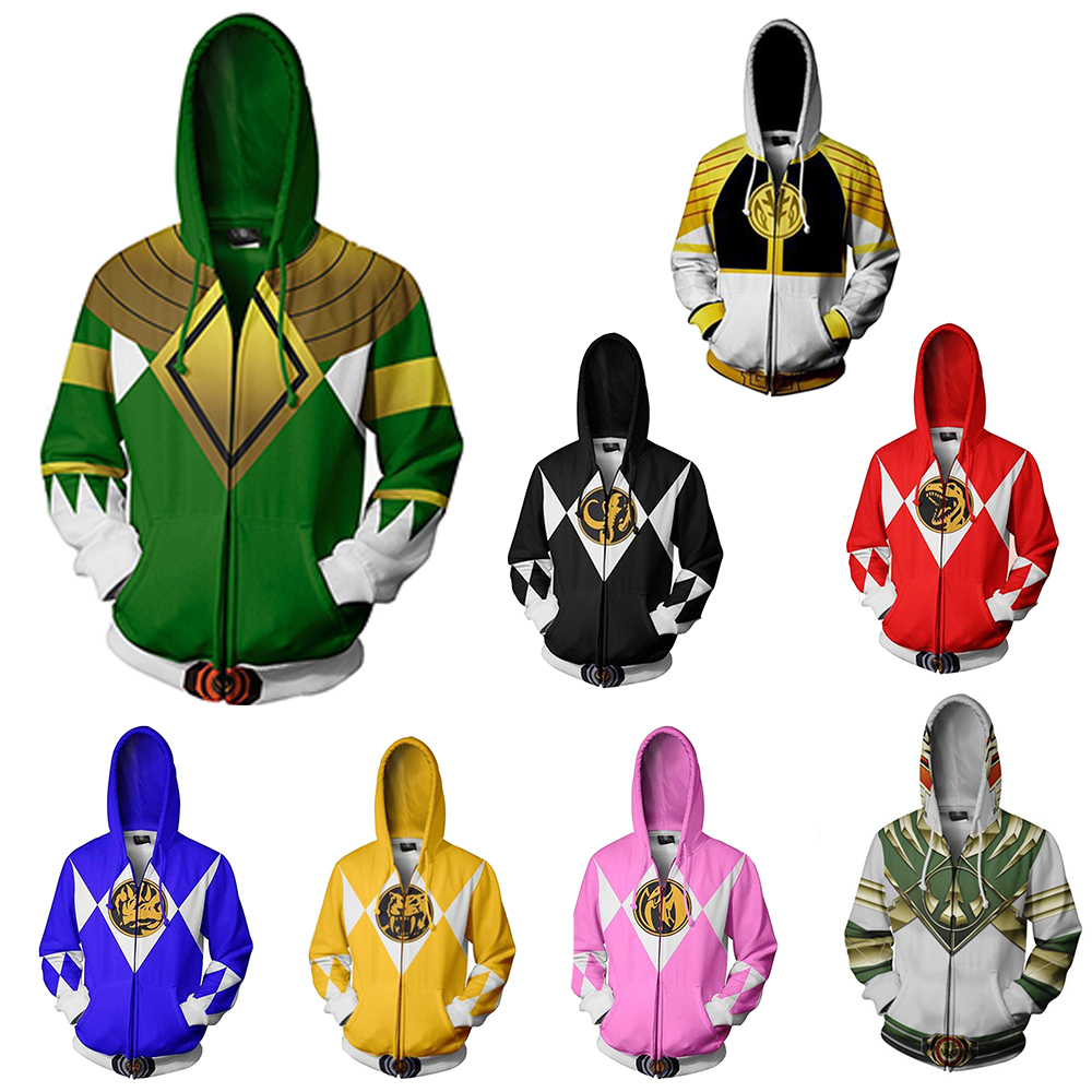 New Power Ranger Cosplay 3D Digital Printing Zipper Hooded Sweater Spring And Autumn Fashion Large Size Loose Jacket