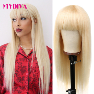 613 Honey Blonde Human Hair Wigs With Bangs Brazilian Straight Wig Remy Hair For Women Full Machine Made Wig With Bang Mydiva(China)