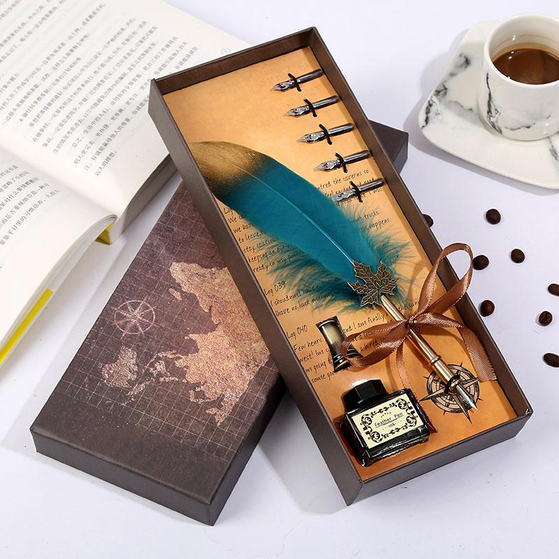 caneta de penas do vintage marrom caixa de presente embalagem requintado escrita papelaria conjunto personalidade pena
