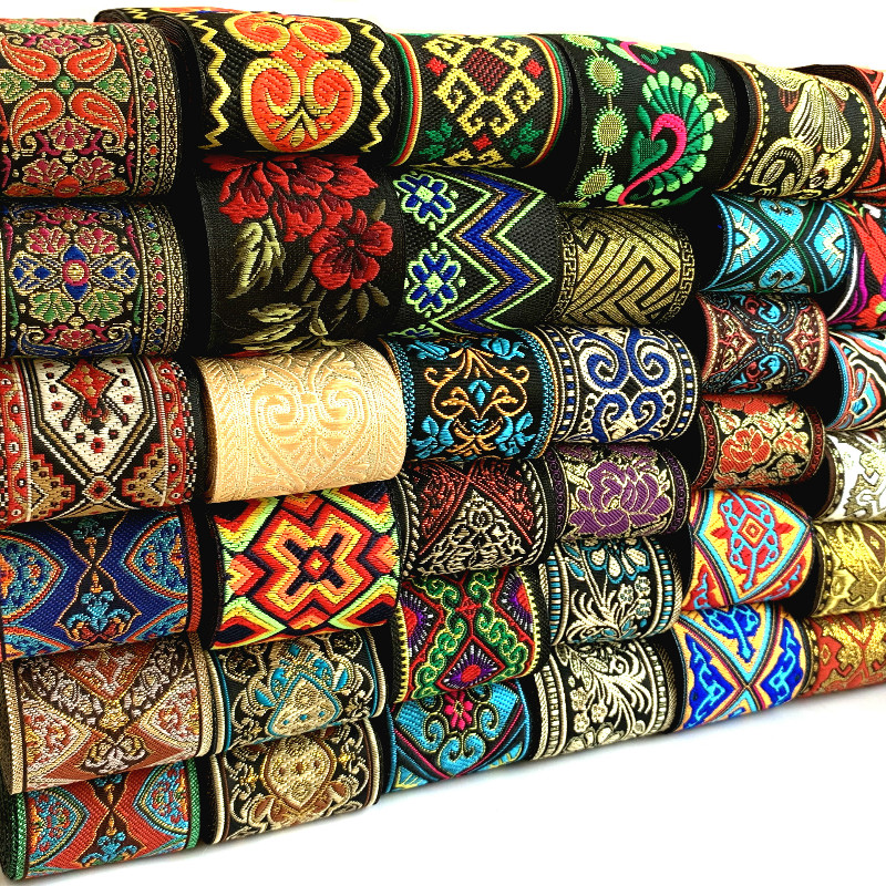 HOT 3 Yards 5CM Vintage Ethnic Embroidery Lace Ribbon Boho Lace Trim DIY Clothes Bag Accessories Embroidered Fabric Custom