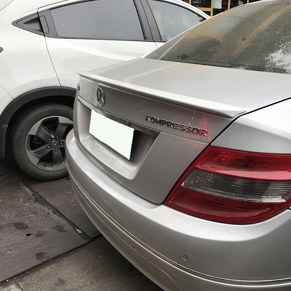 AITWATT Car <font><b>Spoiler</b></font> Black And White <font><b>Rear</b></font> Trunk Boot Wing <font><b>Rear</b></font> Lip Roof <font><b>Spoiler</b></font> Car Styling For <font><b>Benz</b></font> C-class C180 C200 <font><b>C300</b></font> C63 image
