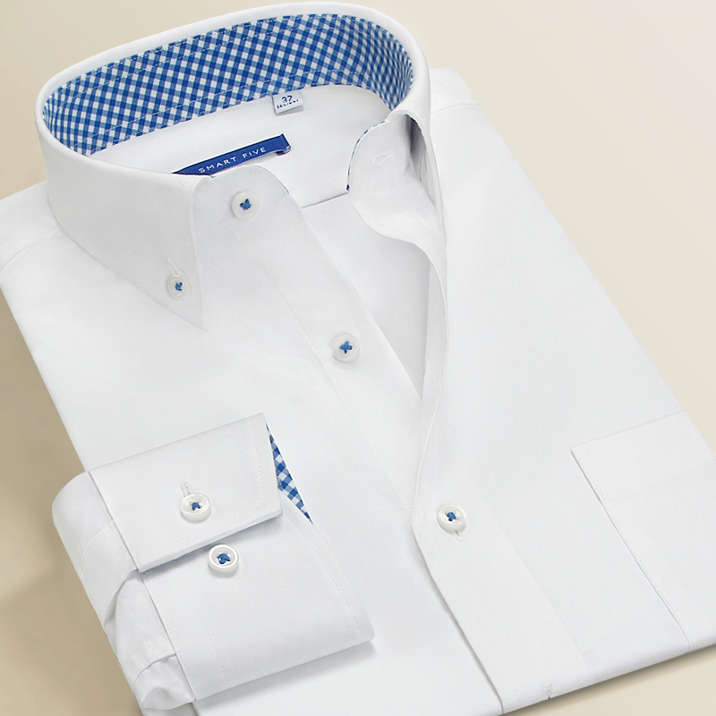 Smart Five Men Dress Shirts 100% Cotton Long Sleeve Regular Slim Fit Formal Shirts Male 2019 Summer Spring New Big Size 45 46