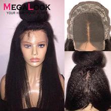 4x4 закрытие парик перуанский парик на кружевной основе humaine Волосы Кудрявые прямые парики для черных женщин 30 дюймов Кружева Закрытие парик Remy Megalook волос