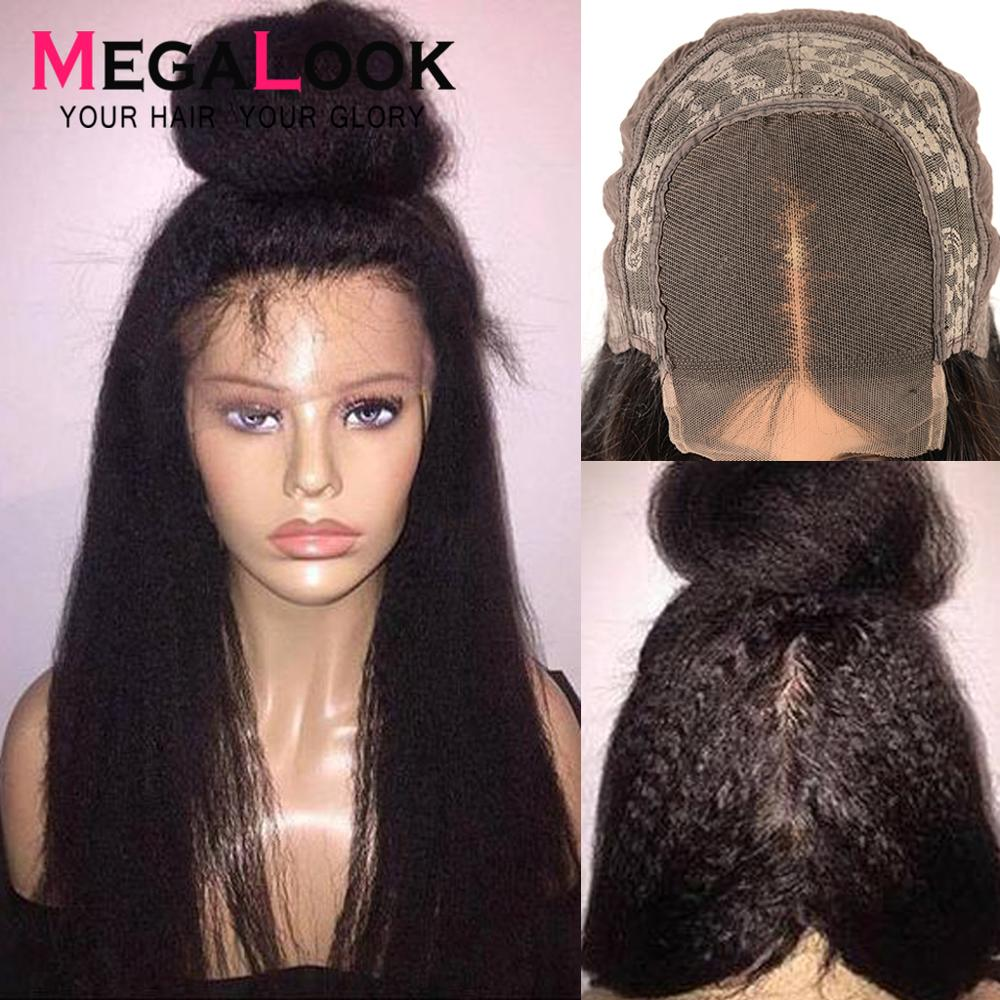 4x4 Closure Wig Peruvian Lace Wig Humain Hair Kinky Straight Wigs For Black Women 30 Inch Lace Closure Wig Remy Megalook Hair
