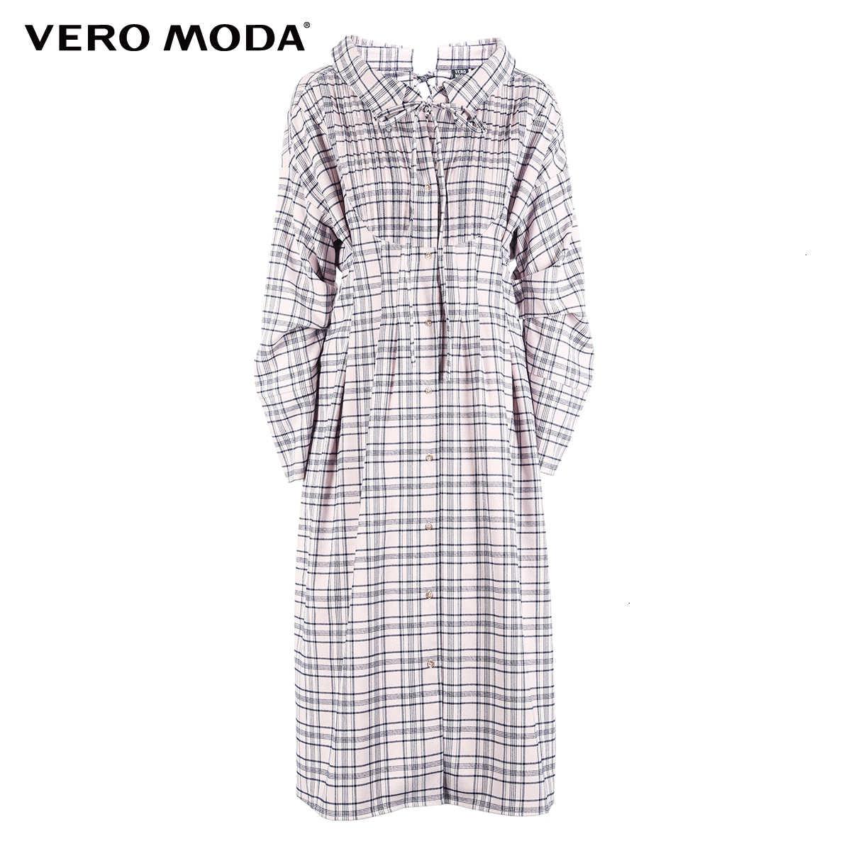 Vero Moda 2019 Новое поступление на шнуровке Versieringen плиссе с длинными рукавами рубашка в клетку Jurk '124; 318305512