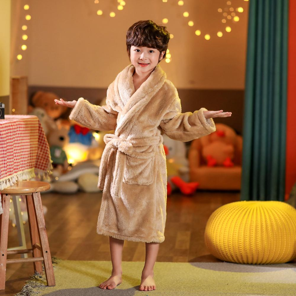 2021 new delivery children clothes winter boy girl pajama Flannel robe baby Bathrobe home clothes 3-12year 5