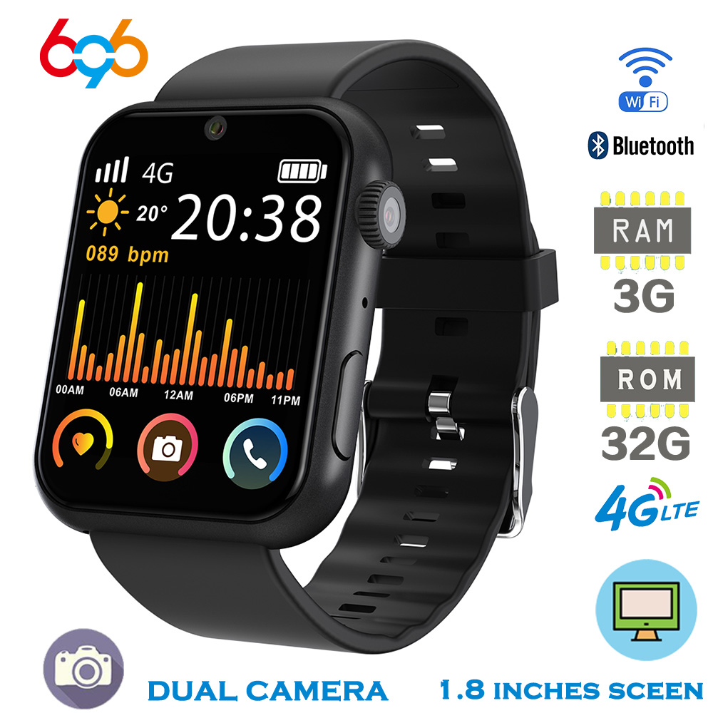 696 4G LTE Smart Watch Phone 3G+32GB GPS Android IOS SIM 1.8 inch 800mAh Waterproof Smartwatch Men Answer Call Watch For iPhone