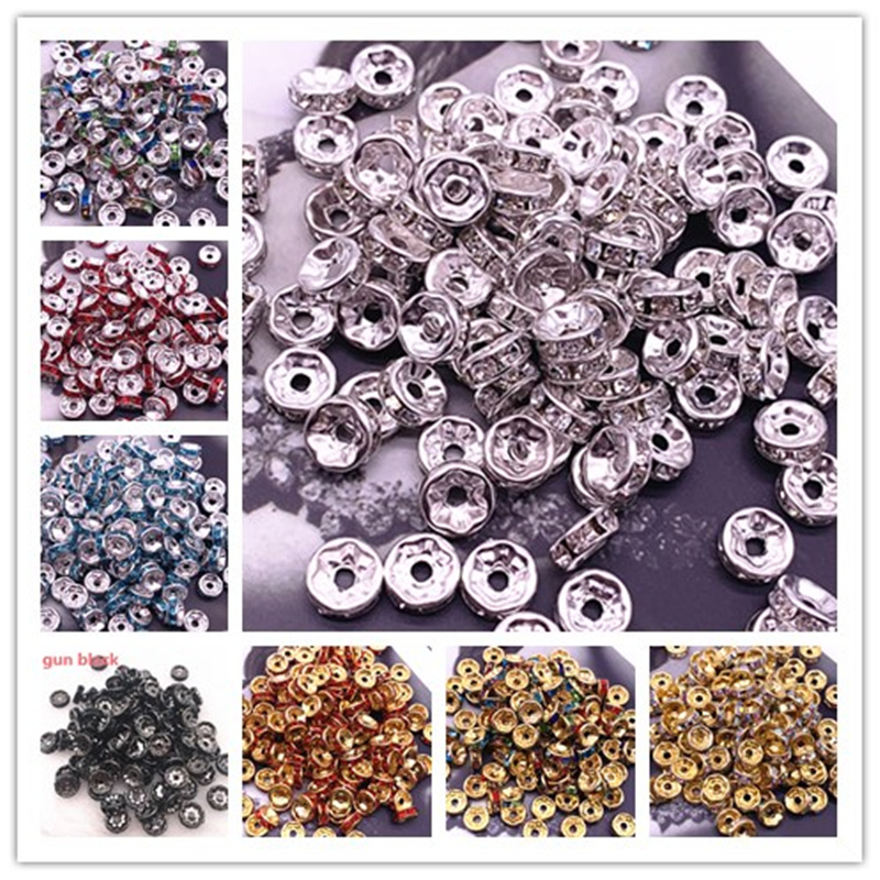 NEW 50pcs 8mm Czech Crystai Rhinestone Glass Round Loose Spacer Beads For Jewelry Making DIY Bracelet Necklace